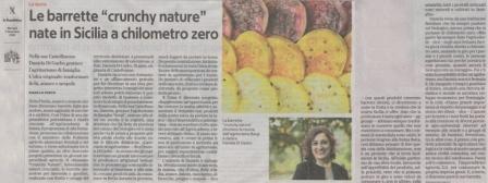 """La nostra idea delle barrette""""crunchy nature""""  su Repubblica"""